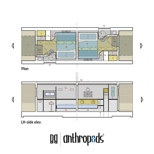 Anthropod Twin Interior Layout